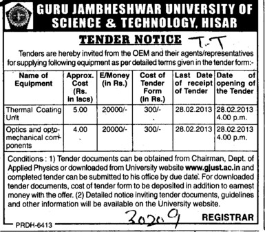 Thermal Coating and Optics Mechanical Component (Guru Jambheshwar University of Science and Technology (GJUST))