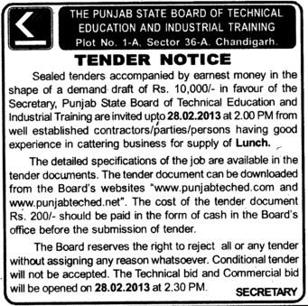 Supply of Lunch (Punjab State Board of Technical Education (PSBTE) and Industrial Training)