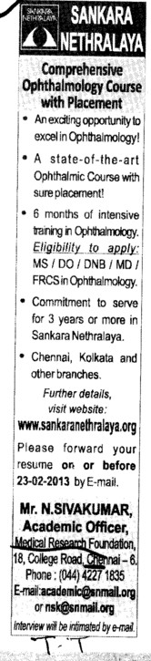 Comprehensive Opthalmology course (Sankara Nethralaya Medical Research Foundation College)