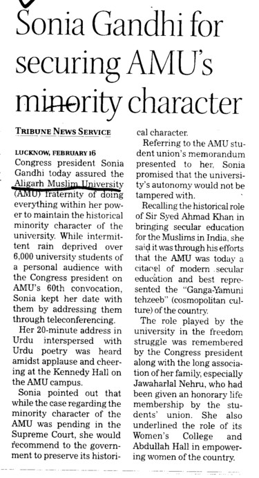 Sonia Gandhi for securing AMUs minority character (Aligarh Muslim University (AMU))
