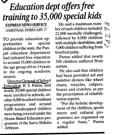 Education dept offers free training to 35,000 special kids (Director General School Education DGSE Punjab)