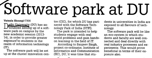 Software park at DU (Delhi University)