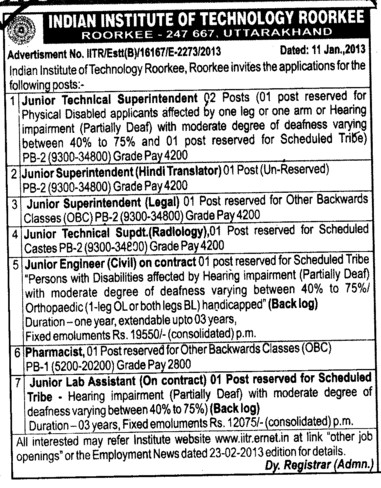 Junior Technical Asstt and Pharmacist (Indian Institute of Technology (IITR))