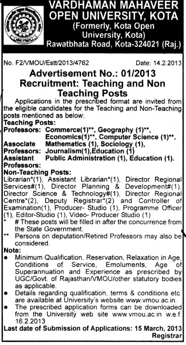 Professor, Asstt Professor and Associate Professor (Vardhman Mahaveer Open University (VMOU))