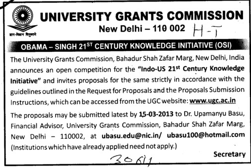 Obama Singh 21 st Century Knowledge Initiative (University Grants Commission (UGC))
