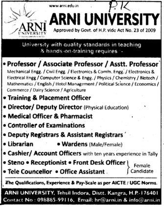 TNP, Director, cashier, Wardens and Steno etc (Arni University Kathgarh)