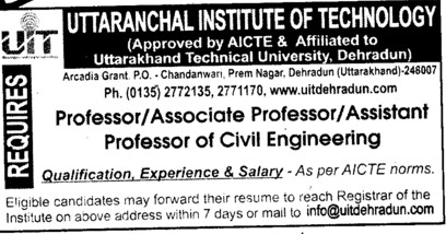 Professor, Asstt Professor and Associate Professor (Uttaranchal Institute of Technology (UIT))