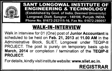 Junior Accountant (Sant Longowal Institute of Engineering and Technology SLIET)