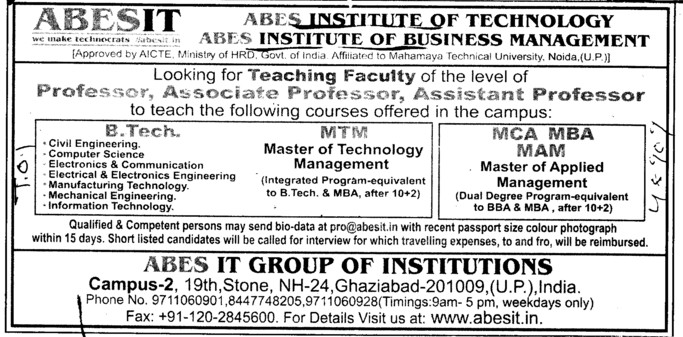 BTech, MBA and MAM Courses etc (ABES Institute of Business Management)