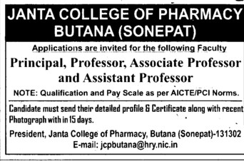 Professor, Asstt Professor and Associate Professor (Janta College of Pharmacy Butana)