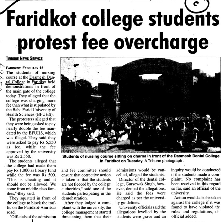 Faridkot College Students protest fee overchange (Dashmesh Dental Education ITC)