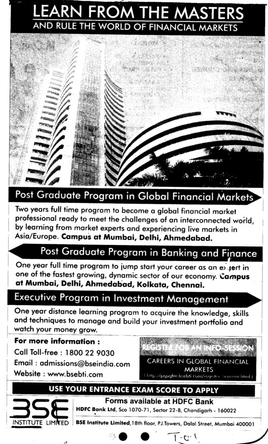 Post Graduate Program in Banking and Finance (BSE Training Institute)
