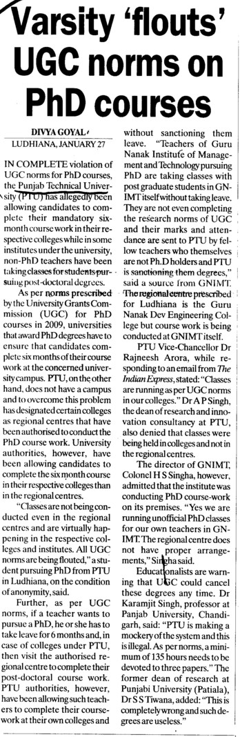 Varsity flouts UGC norms on PhD Course (Punjab Technical University PTU)