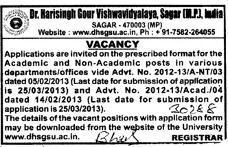 Teaching and Non teaching posts (Dr Harisingh Gour University)