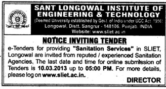Sanitation Services (Sant Longowal Institute of Engineering and Technology SLIET)