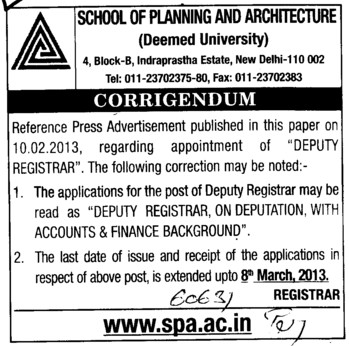 Deputy Registrar (MBS School of Planning and Architecture)