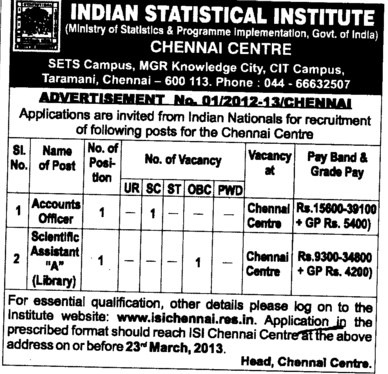Accounts Officer and Scientific Asstt (Indian Statistical Institute)