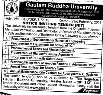Various types of Equipments (Gautam Buddha University (GBU))
