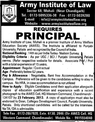 Principal (Army Institute of Law)