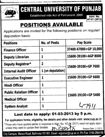 Finance Officer, Deputy Librarian and Hindi Officer etc (Central University of Punjab)