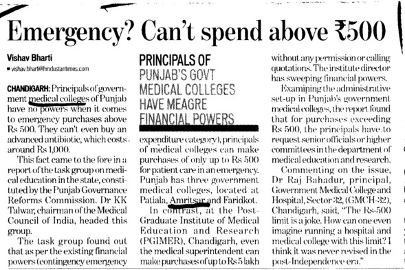 Emergency cant spend above Rs 500 (Government Medical College)