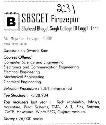 SBSCET (Shaheed Bhagat Singh State (SBBS) Technical Campus)