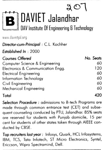 DAV Engg College (DAV Institute of Engineering and Technology DAVIET)