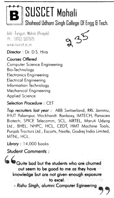 SUS Engg College (SUS College of Engineering and Technology SUSCET)