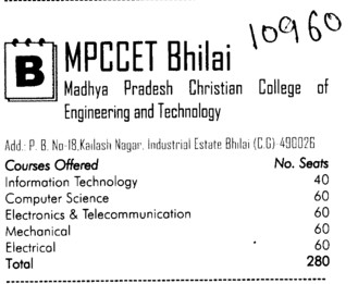 Madhya Pradesh christian Engg College (Christian College of Engineering and Technology (CCET))