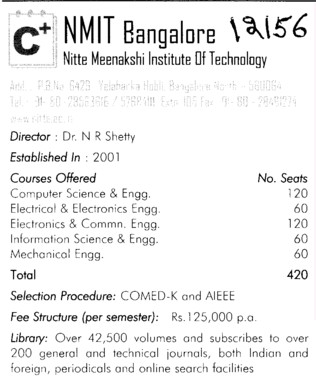 Nitte Meenakshi Engg college (Nitte Meenakshi Institute of Technology (NMIT))