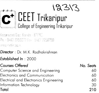 CEET Trikaripur (College of Engineering, Trikaripur)