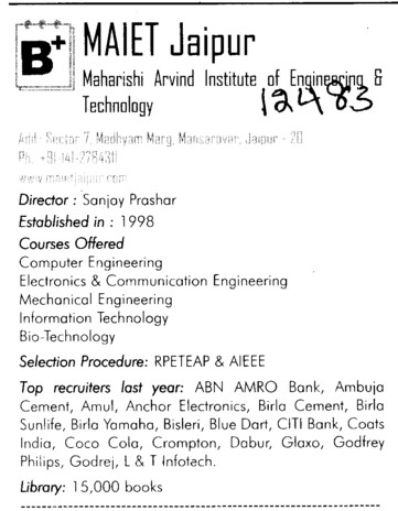 MA Engg College (Maharishi Arvind Institute of Engineering and Technology (MAIET))