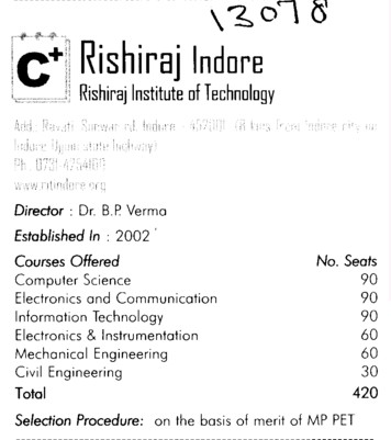 Rishiraj Engg College (Rishiraj Institute of Technology (RIT))