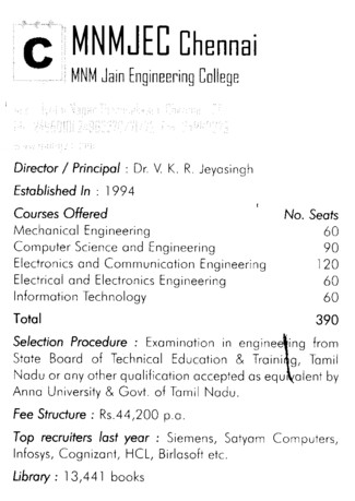 MNM Jain Engg College (Misrimal Navajee Munoth Jain Engineering College (MNMJEC))
