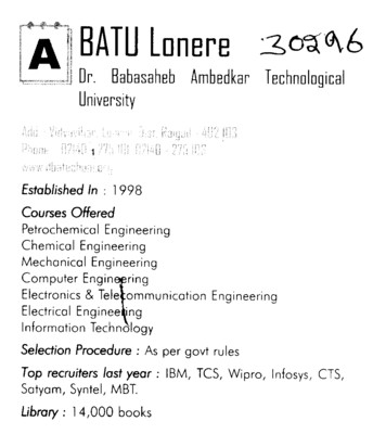 BATU Lonere (Dr Babasaheb Ambedkar Technological University, Lonere)