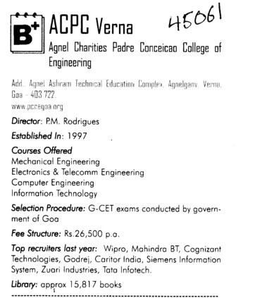Campus Placement etc (Padre Conceicao College of Engineering PCCE Verna)