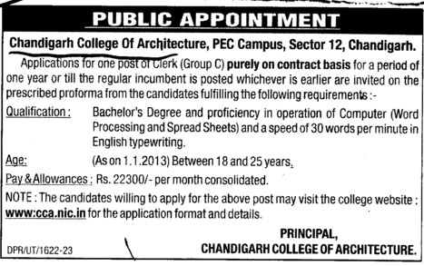 Clerk on contract basis (Chandigarh College of Architecture)