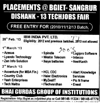 Dishank 13 Techjobs Fair (Bhai Gurdas Group of Institutions)