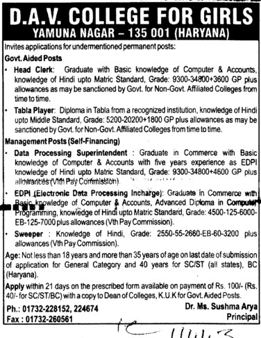 head Clerk and Table Player (DAV College for Girls)