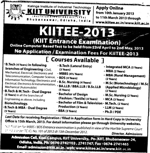 BTech, MBA and BSc Courses etc (KIIT University)