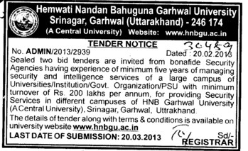 Security Agencies (Hemwati Nandan Bahuguna Garhwal University)