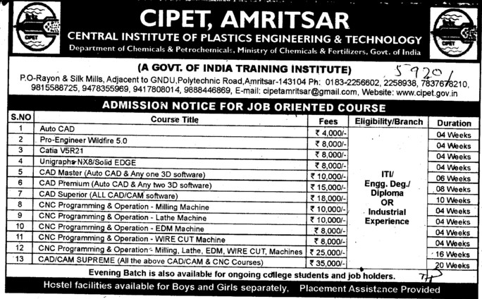 Central Institute of Plastics Engineering and Technology (CIPET) Amritsar Punjab