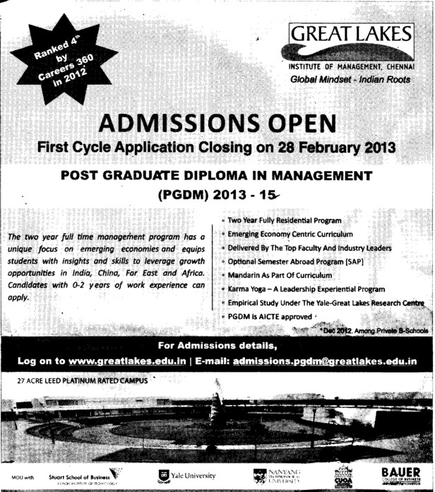 Post Graduate Diploma in Management (Great Lakes Institute of Management)