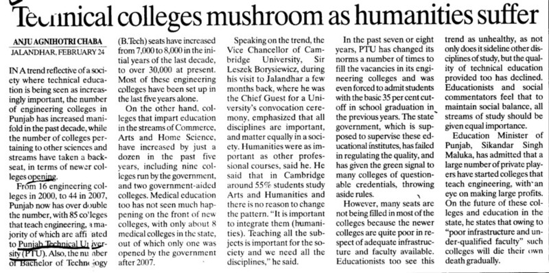 Technical Colleges mushroom as humanities suffer (Punjab Technical University PTU)