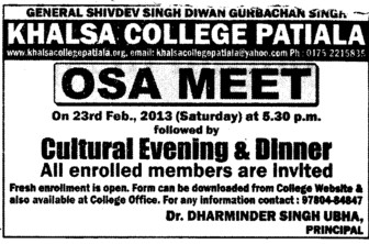 OSA MEET on 23 rd Feb (Khalsa College)