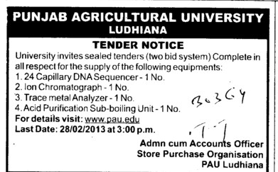 Trace Material Analyzer and Acid Purification Sub boiling Unit etc (Punjab Agricultural University PAU)