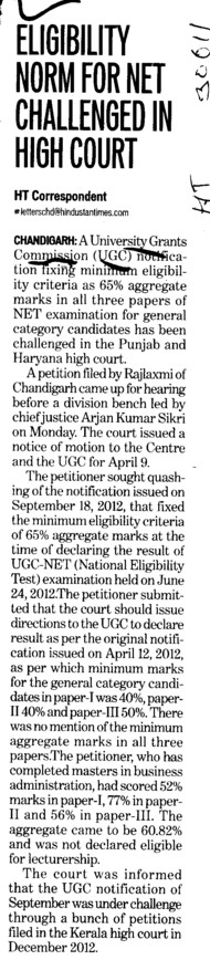 Eligibility norm for net challenged in high court (University Grants Commission (UGC))