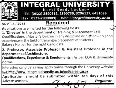 Director, Professor and Asstt Professor etc (Integral University)