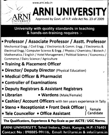 TNP Officer, Librarian and Tele Councellor etc (Arni University Kathgarh)