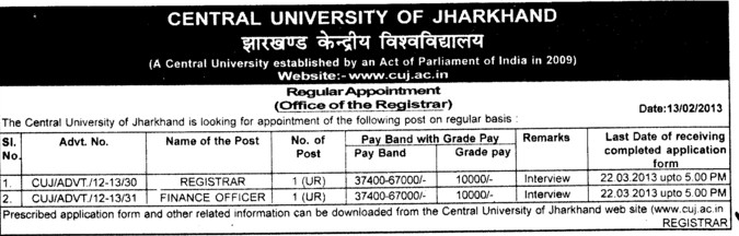 Registrar and Finance Officer (Central University of Jharkhand)